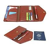 All-In-One Large Capacity RFID Blocking Travel Wallet - Multi-Purpose Passport Holder and Organizer (Brown)