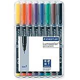 Staedtler 318 WP8 Lumocolor Universal Permanent Fine Pens - Assorted Colours