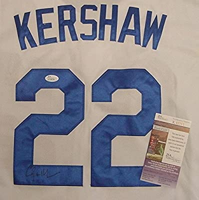 Clayton Kershaw Los Angeles Dodgers Autographed White #22 Jersey JSA COA