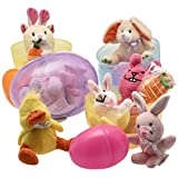 Jumbo 6 Easter Eggs Filled with Plush Easter Bunny s Ducks and Hamsters (pack of 3 Jumbo Eggs Per Order)