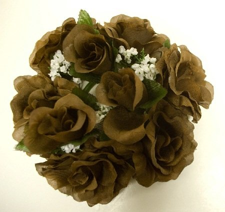 Lot of 3 CHOCOLATE Rose Candle Rings Silk Flower