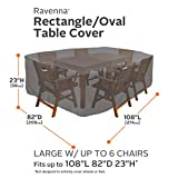 Classic Accessories Ravenna Oval/Rectangle Patio Table and Chair Cover - Premium Outdoor Furniture Cover with Durable and Water Resistant Fabric, Large, Taupe (55-155-045101-EC)