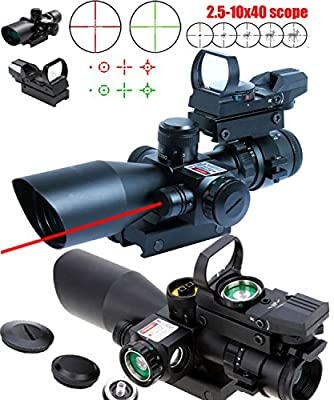 Ledsniper®3-in-1 useful 2.5-10x40 Tactical Rifle Scope w/ Red Laser & Holographic Green / Red Dot Sight by Ledsniperus Seller
