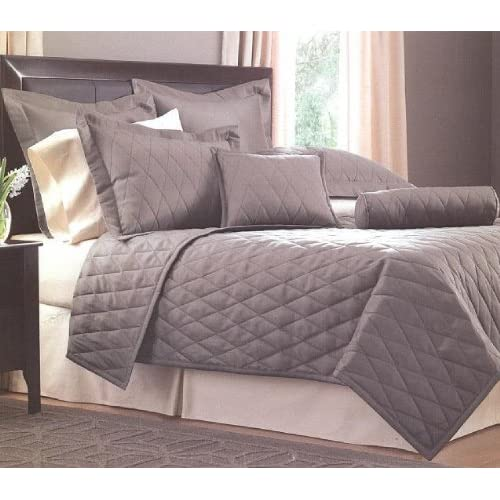 Best Whole Home Faux Silk Twin Bed Coverlet Piece Gray