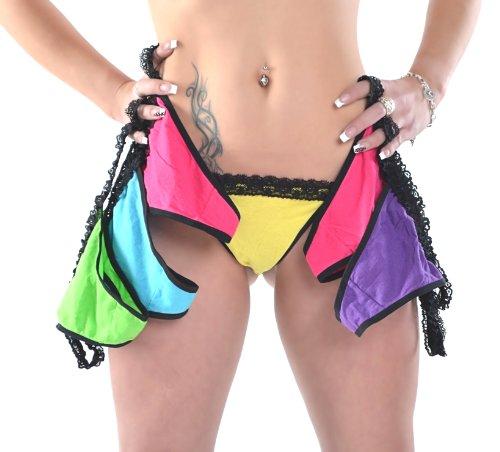 6 Stück Damen String-Tanga in Neon-Farben, Gr. S, M, L, XL von M-Mala mit schwarzer Spitze