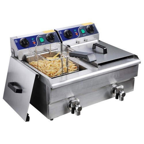 Commercial 20L Electric Dual Deep Fryer W/ Timer And Drain Stainless Steel French Fry