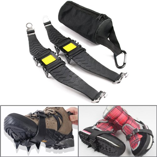 Ice Cleats Shoe Traction Crampon Spike Sharp Teeth Winter Snow Walking Walker w/ Pouch Carabiner New