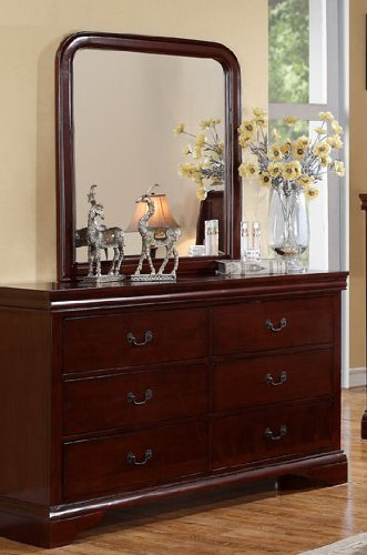 Louis Phillipe Cherry Queen Size Bedroom Set Featuring French Style Sleigh Platform Bed And