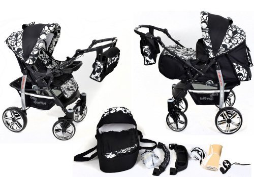 2-in-1 Travel System incl. Baby Pram with 360° Swivel Wheels, Pushchair & Accessories, Black & Flowers