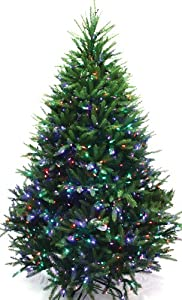Good Tidings Monarch Short Needle Artificial Prelit Christmas Tree, 6-1/2-Feet, Multi-Color LED Lights
