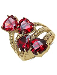 Suraabi 12.08CTW Red Cubic Zirconia 14K Yellow Gold Plated Brass Heart Shape Ring For Women