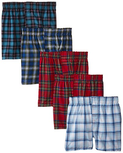 5-Pack Hanes Boys Red Label Tartan Boxer B841W5, Assorted Pl