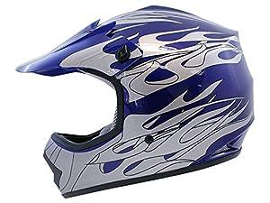 TMS® Youth Blue Flame Dirt Bike Motocross Helmet Atv Mx