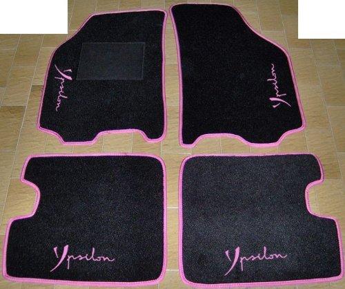 lancia-ypsilon-dal-2003-al-2011-tappeti-neri-con-bordo-fucsia-per-auto-set-completo-di-tappetini-in-