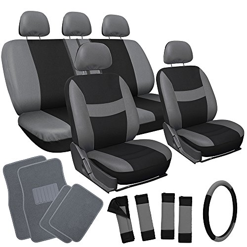 OxGord 21pc Black & Gray Flat Cloth Seat Cover and Carpet Floor Mat Set for the Saturn Ion-1 Sedan, Airbag Compatible, Split Bench, Steering Wheel Cover Included (Saturn Ion Wheel Cover compare prices)