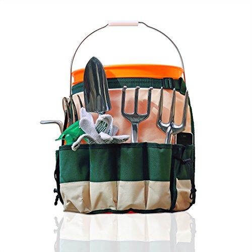 GardenHOME ガーデンエプロンバッグ【ガーデニングエプロンとしても使用可能・バケツとガーデニング耕作道具をまとめて持ち運べる】大きなポケット10個(※写真内のバケツ・ガーデニングツールは製品には含まれておりません)