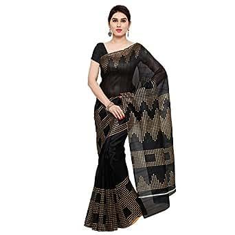 Oomph! Bhagalpuri Silk Geometric Printed Saree - Jet Black & Peanut Beige