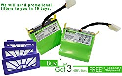 Lithium-ion 4400 mAH battery 2 pack for Neato XV Series with 3 free HEPA filters
