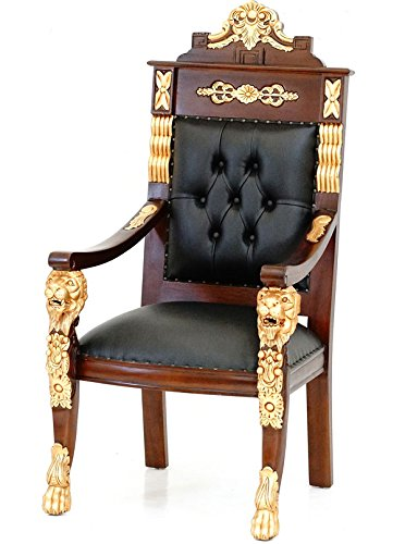 MOREKO Luxus Mahagoni Sessel Massivholz Thron-Stuhl Antik-Stil