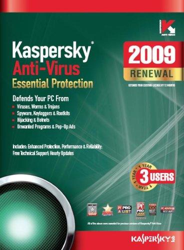 Kaspersky Anti-Virus 2009, 3-Desktop, 1 year