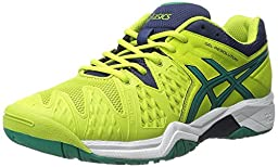 ASICS GEL-Resolution 6 GS Tennis Shoe (Little Kid/Big Kid), Lime/Pine/Indigo Blue, 5 M US Big Kid
