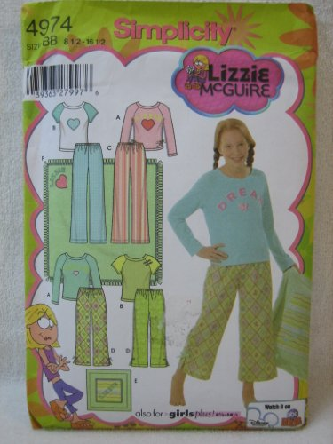 Simplicity 4974 Lizzie Mcguire Girls' Plus Pants In Two Lengths, Knit Top, Blanket And Pillow Cover - Size Bb 8 1/2 - 16 1/2