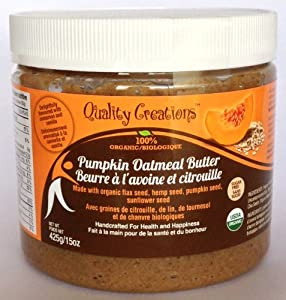 SUGAR FREE Pumpkin Oatmeal Butter - 100% Organic. Very Spreadable and So Creamy. Made with Pumpkin Seed, GF Oats, Flax Seed, Hemp Seed and Sunflower Seed. GMO Free. Gluten Free. Delightfully Flavored with Cinnamon and Vanilla. 425g/15oz