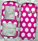 Pink Polka Dot Vn250 Rubberized Shield Protector Case for Lg Rumor2 Lx265 Cosmos Faceplate Snap on Rubberized Hard Phone Cover Case Protector Accessory