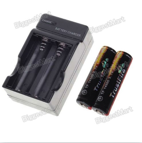 TrustFire 2 Pcs Protected 14500 3.7V 900mAh Rechargeable Batteries Plus Charger