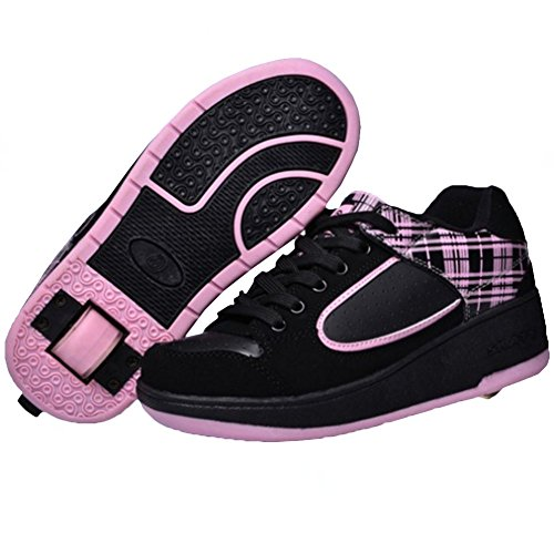 KE Unisex-Licht Breathable Stealth-Knopf automatische Heelys Pulley Schuhe Skates Sportschuhe (CN38=24CM=EU38, Pink)