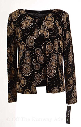 Onyx Nite Women's Sircle Print Glittering Jacket And Tank Twin Set Small Black Gold
