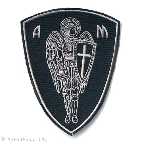 ARCHANGEL ST.MICHAEL CROSS SHIELD SAINT CHRISTIAN BIKER RIDER PROTECTION PATCH