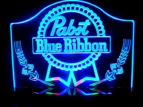 Pabst Blue Ribbon LED Desk Lamp Night Light Beer Bar Bedroom Game Room Signs (Blue Light Tap Handle compare prices)
