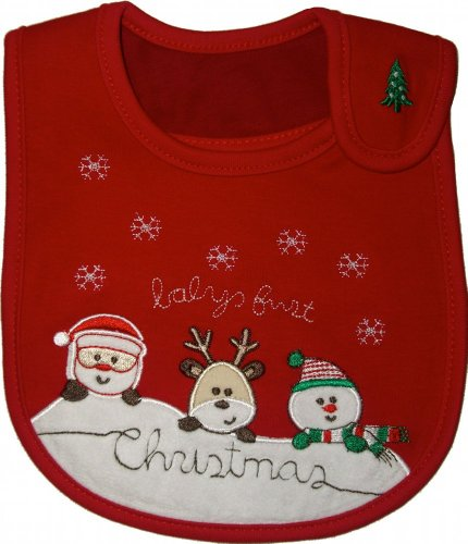 Baby Bib, First Christmas, Red, For Boy or Girl,