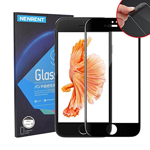 iPhone 7 Screen Protector, EZ Generation Full Coverage Edge to Edge 3D Touch Compatible 9H Tempered Glass Carbon Fibre Soft Edge Screen Protector for Apple iPhone 7 (Black 3D HD for iPhone 7)