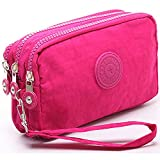 liangdongshop Leisure Style Solid Color Nylon Multi-layer Wristlets Clutches Cell Phone Bag Wallet Pouch (Pink)