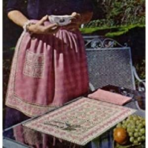 Crochet Vintage Hostess Set - Embossed Filet Crochet Place Mat, Apron Band and Apron Pocket
