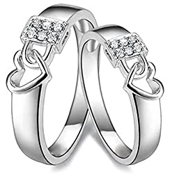Via Mazzini 925 Silver Plated Heart Lock Crystal Couple Rings For Men And Women (Ring0199)