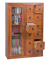 Big Sale Best Cheap Deals Solid Oak Multimedia Cabinet w Door & Drawers (Dark Oak)
