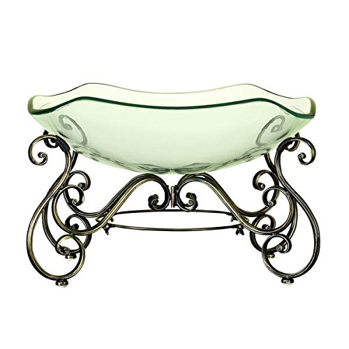 Elegant Decorative Glass Bowl with Metal Stand (Pedestal Glass Orb compare prices)