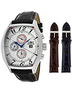 Invicta Men's 14329 Specialty Tonneau Watch with 3 Textured Leather Strap Set
