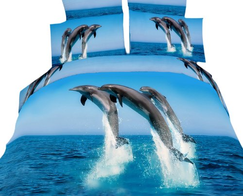 Details for Dolce Mela DM425Q Atlantic Dolphins Queen Duvet Cover Set from Two Decorate Inc.
