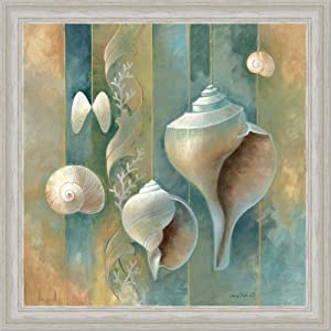 Amazon com blue seashells bath room spa decor ii art