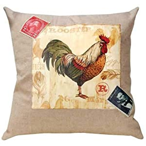 Manual Linen Pillow, Rooster Chateau
