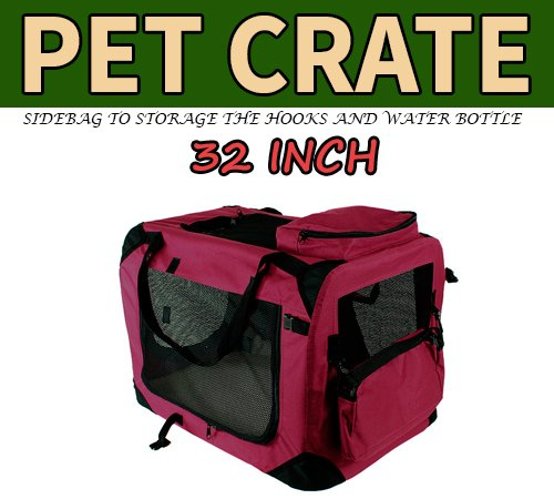 New Large Dog Pet Puppy Portable Foldable Soft Crate Playpen Kennel House - Red front-784486