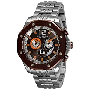 Stuhrling Original Men's 181CR.337184 Nautilus Swiss Quartz Chronograph Brown Dial Watch
