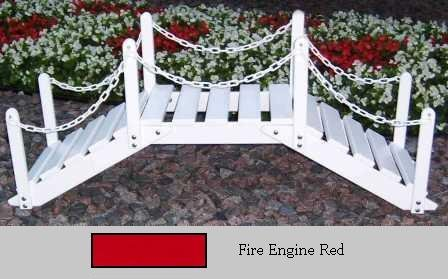Prairie Leisure Design 47B Fire Engine Red Decorative Garden Bridge With Posts And Chain - Fire Engine Red