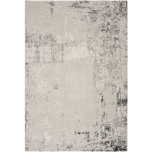5.25' X 7.25' Distressed Feather Gray And Coal Black Rectangular Area Throw Rug front-198680