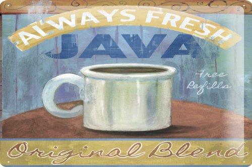 "Tin Sign Coffee Cafe Bar Large Coffee Pot Decorative Wall Plate 8X12"""