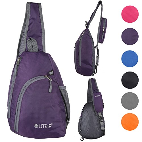 Outrip Sling Shoulder Backpacks Bags Crossbody Rope Triangle Pack Rucksack for Hiking or Multipurpose Daypacks (Purple) (Side Backpack For Women compare prices)